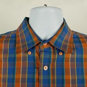 Bugatchi Uomo Dark Orange Blue Check Plaid Large L